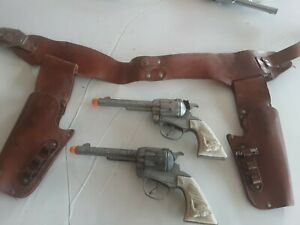 Roy Rogers Double Cap Gun Holster With Cap Guns