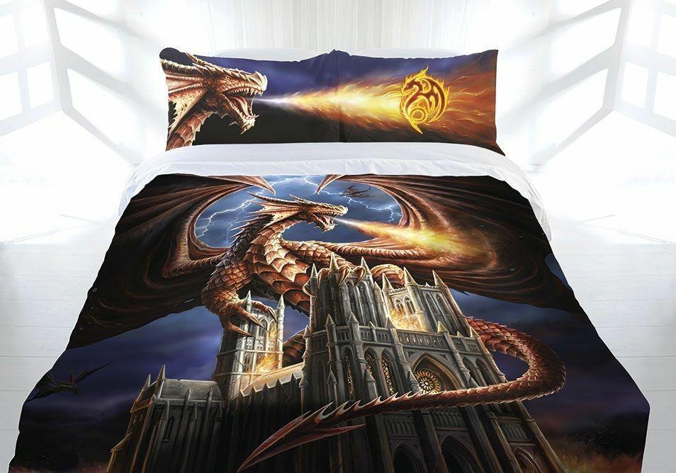 Anne Stokes Dragons Fury Fantasy Gothic Königin Größe Quilt Will Startseite Set