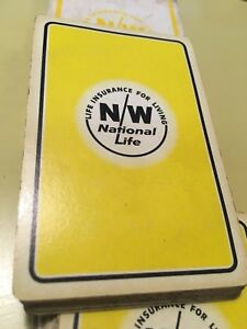 NW-National-Life-Vintage-Playing-Cards-Yellow-Northwestern-Complete-Redislip