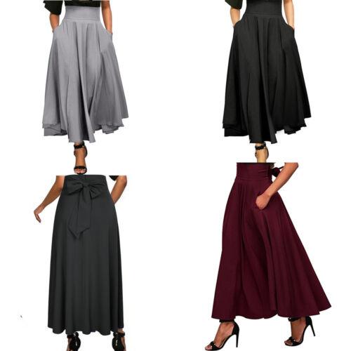 Vintage Womens Stretch High Waist Skater A-Line Pleated Swing Long Skirt Dress