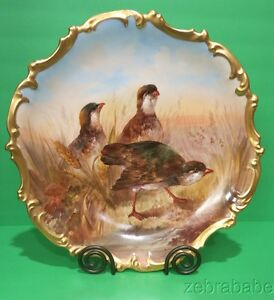 Other Antique Decorative Arts Decorative Arts Limoge Charger With Beautiful Hand Painted Birds