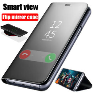 Luxury-Clear-View-Mirror-Flip-Leather-Smart-Case-Slim-Cover-For-Samsung-Galaxy