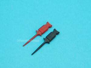 SMD Gripper Test Clips Micro Hook with 25cm Dupont Cable (1 Pair Red + Black)