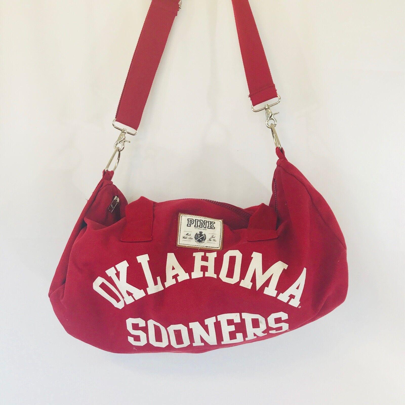 Victorias Secret PINK Oklahoma Sooners OU Crimson Gym Duffle Bag College Campus