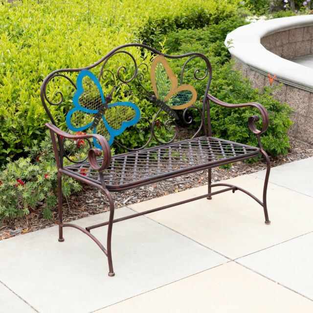 Alpine Bvk546 Metal Colored Butterflies Garden Bench For Sale Online Ebay