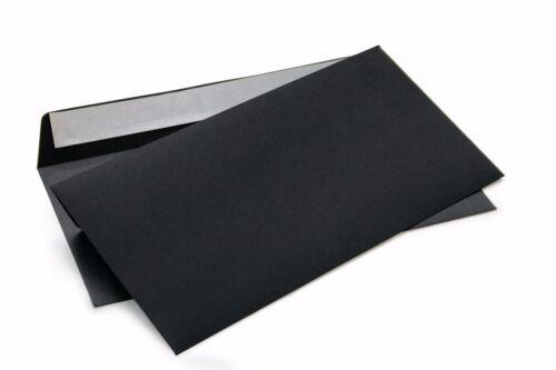 Briefumschläge ohne Fenster schwarz DIN lang 114x229mm haftklebend120g//m² 214A