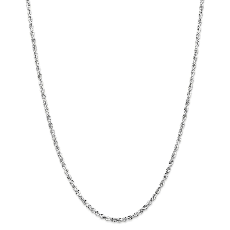 14k White gold 3mm Diamond Cut Quadruple Rope Chain w  Lobster Clasp 18  - 30
