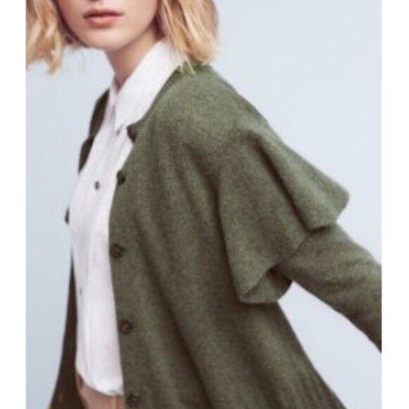 Anthropologie Left Of Center Center Center Women's Green Ruffled Shoulder Cardigan Size M  112 6dc03c