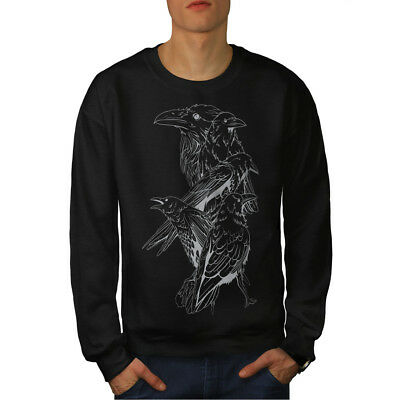 Niedrigerer Preis Mit Wellcoda Four Scary Raven Mens Sweatshirt, Crow Birds Casual Pullover Jumper
