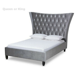 King-Queen-Gray-Velvet-Fabric-Button-Tufted-Platform-Bed-Tall-Wingback-Headboard