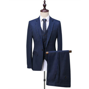 292f4072796 Mens 3 Piece Navy Blue Suit Peak Lapel Slim Fit Suit Tuxedos Wedding ...