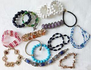 Vintage-Bangle-Bead-Metal-Stretch-Bracelet-16-Pieces-Lot