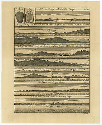 18th Century Prints Antique Engraving Johannes Kip 1744 Forts of West Africa Ghana