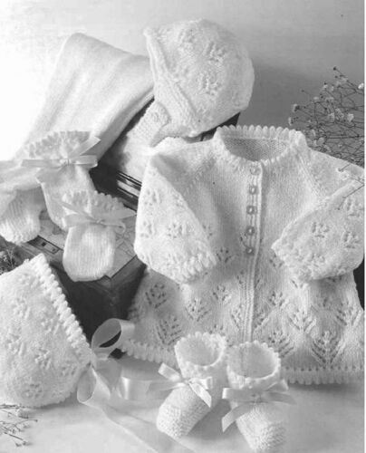 BABY PRAM SET KNITTING PATTERN  4 PLY 16-22/""