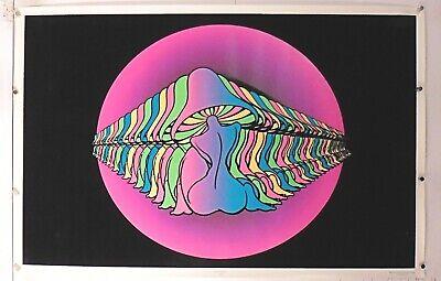 BLACKLIGHT POSTER MUSHROOM MAN 23X35 FLOCKED FANTASY SHROOMS GNOME 1966