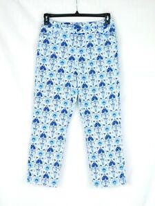EUC Talbots Women's Size 4 Stretch Blue White Print Capri Cropped Pants CUTE!