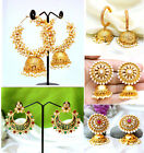 Bollywood Ethnic Gold Plated Pearl Earrings Jhumka Jhumki Indian Wedding Jewelry