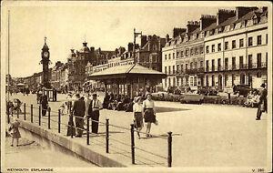 Weymouth-Dorset-vintage-postcard-1950-60-Esplanade-Strassenpartie-Promenade