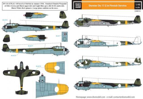 model Dornier Do-17 Z – In Finnish Service – 1:48 sd48010// S.B.S Decals