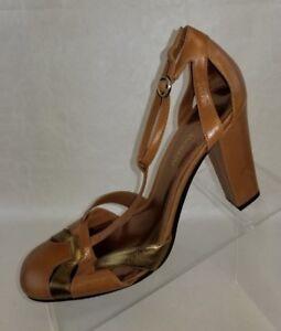 Enzo-Angiolini-Womens-T-Strap-Ealoukas-Pumps-Buckle-Tan-Gold-Shoes-Size-8-5M-NEW