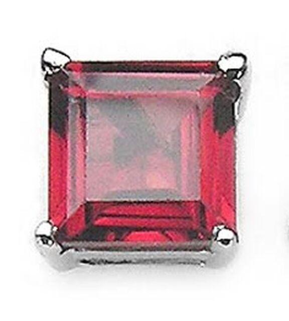 Herrenohrring Quadrat-Granat-Silber-Rhodiniert-0,5Karat