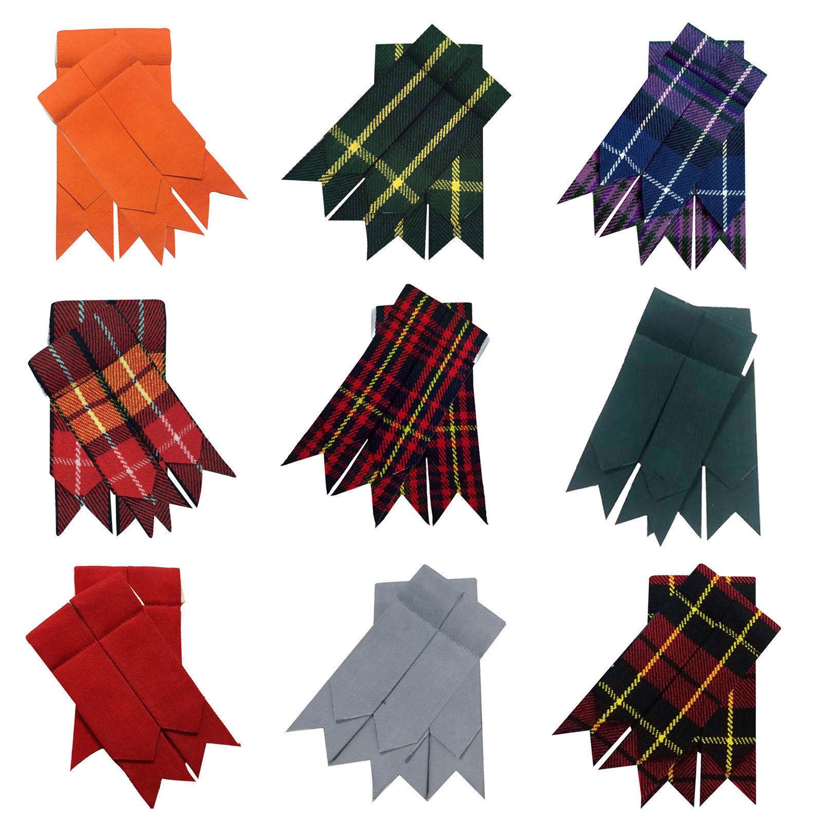 Men's Scottish Kilt Hose Sock Flashes Various Tartan 100% Acrylic Wool Garters