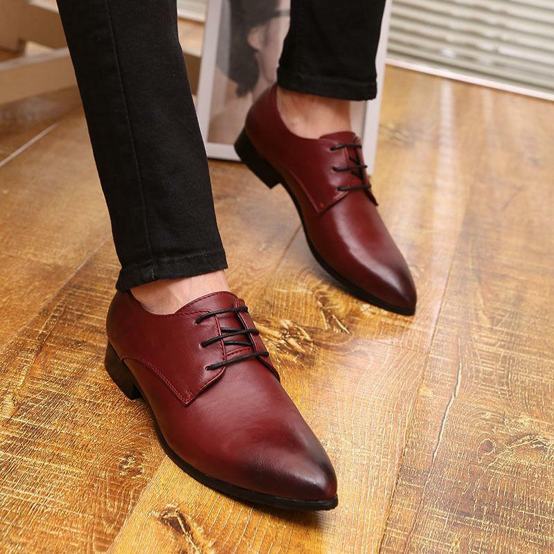 Pointed Toe Dress shoes Mens British Style Black Casual Wing Tip Wedding shoes