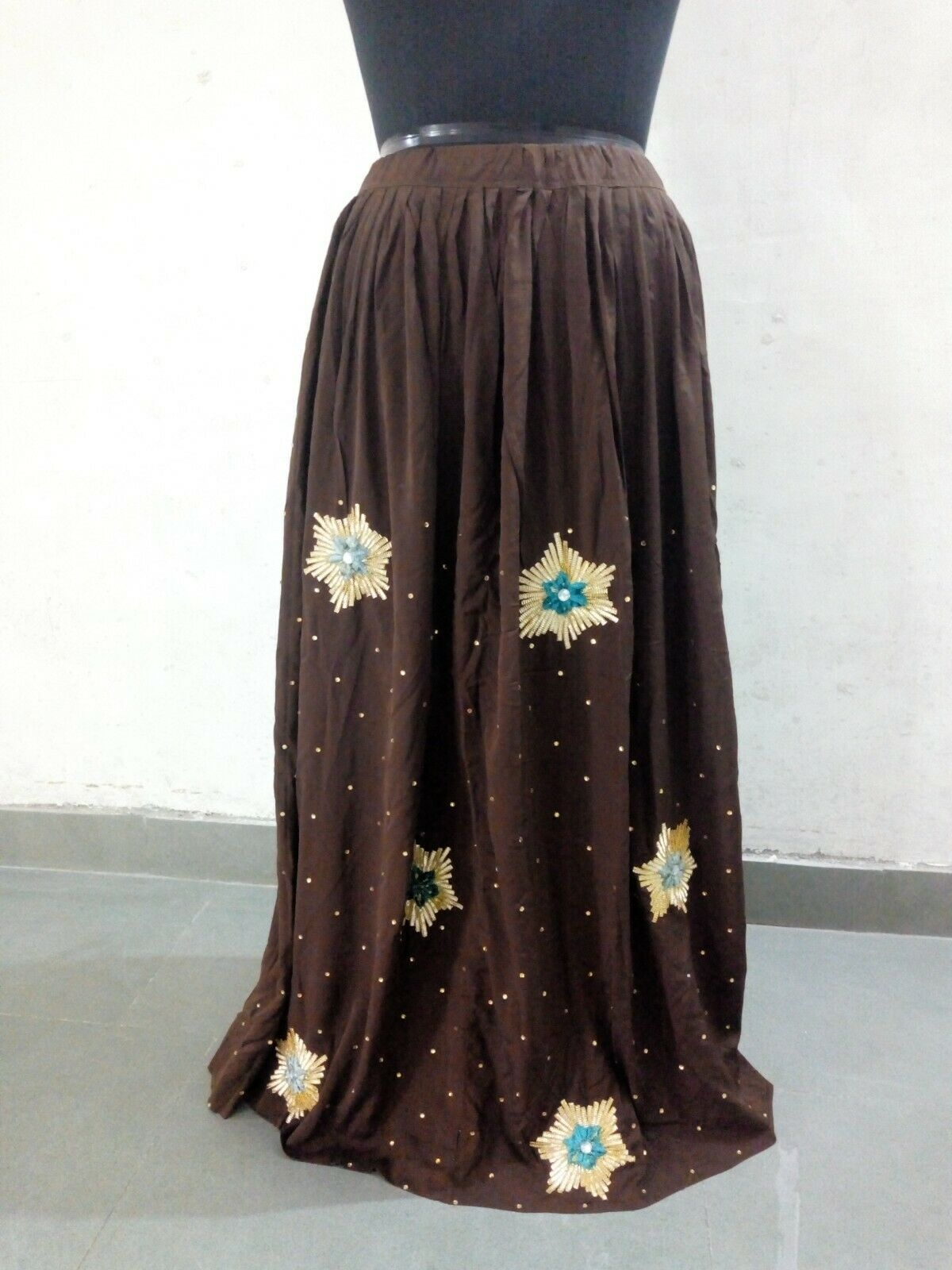 Indian Vintage Satin Silk Brown color Skirt Gotta Patti Handwork Ethnic Lehenga