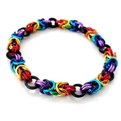 Stretchy Rainbow Byzantine Chain Mail Bracelet / Bangle - Handmade Maille Pride