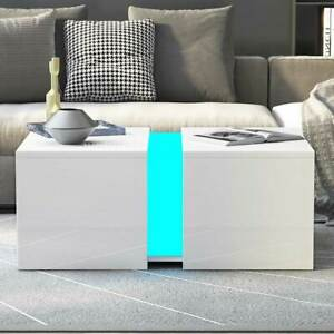 Details About Modern High Gloss Coffee Table Solid Living Room Furniture Free Rgb Led Light