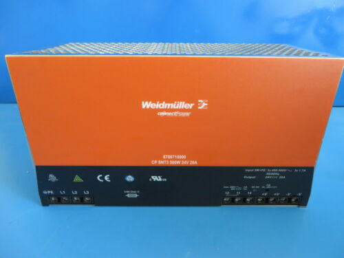 Weidmuller 8708710000 Power Supply 500W 24V 20A Input 3P 400-500V Din-Rail