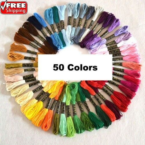 50pcs/set Cross Stitch Cotton Embroidery Thread Floss Sewing Skeins Craft A+