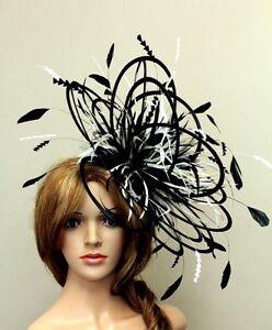 Image Is Loading Large Black Amp Cream Fascinate Fascinator Hat Choose