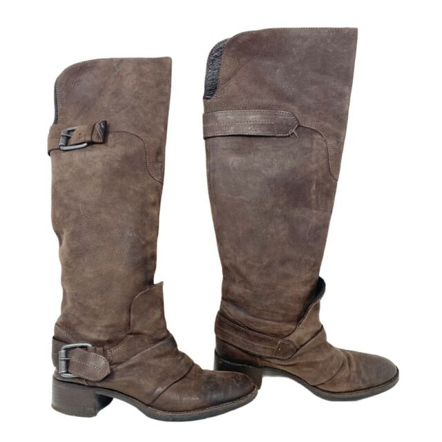 Vera Wang Lavender Label Womens Tall Brown Leather Moto Boots Pull On Sz 6 1/2 M