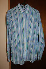 Prich Pride & Rich 80's 2 Ply Fabric Men's Blue Stripe Dress Shirt Size XL