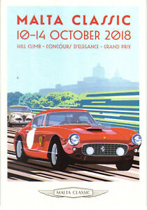 Ferrari Poster card from 2018 MODERN postcard issued by Malta Classics