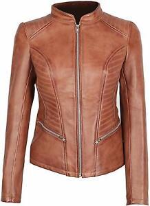 Ladies Leather Jacket Tan Classic Biker Style 100/% Real Lambskin 1138