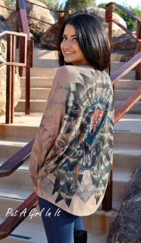 VOCAL TAUPE NATIVE AMERICAN INDIAN FEATHER STEER SKULL SHIRT TUNIC USA S M L XL