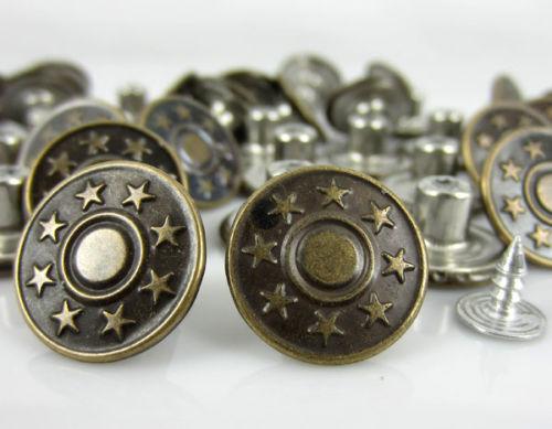 Steampunk 2 pezzi bottone//Bottoni ♥ SKULL STELLA METALLO ORO JEANS EUR 1,13//Pezzo