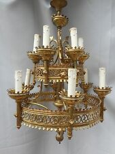 SUPERBE ANCIEN LUSTRE SUSPENSION EGLISE/GOTHIQUE/XIXéme/H.70cm/BRONZE DORE