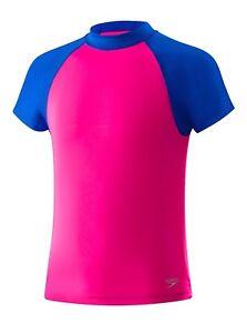 37dbb64a1a NEW Speedo Big Girls Colorblock Rashguard Swim Shirt Pink Size XL UV ...
