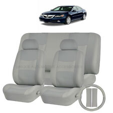 PU LEATHER SOLID GRAY SEAT COVERS 11PC SET for ACURA TSX RDX TL MDX CIVIC