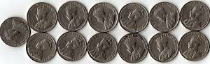 Rare-Canada-Set-13-King-George-V-Era-5-Cent-Coins-All-Different-Years