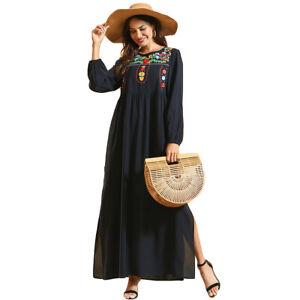 Ethnic-Abaya-Embroidery-Kaftan-Women-Muslim-Party-Gown-Side-Slit-Long-Dress-Robe