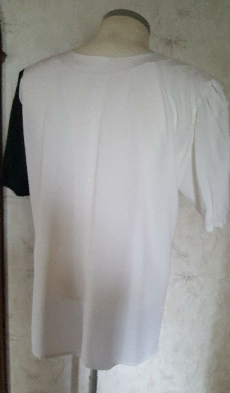 Camicia da donna, lunga, a maniche maniche maniche corte, Bianco e Nero, Taglia L e8eb50