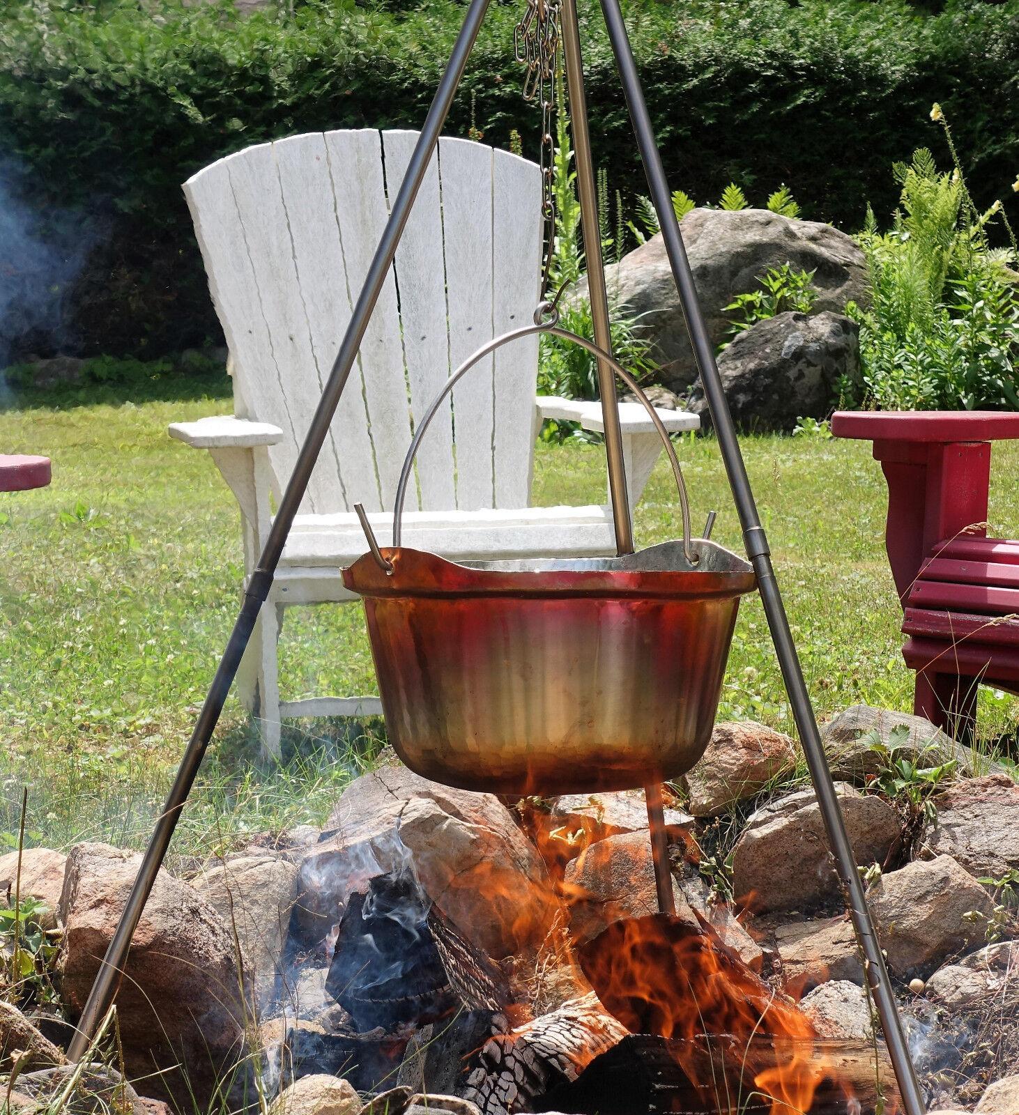 Handmade Copper Cauldron Picnic Kettle Pot Pot Pot Campfire Cooking Tripod 15 Lit 4 Gal 900188