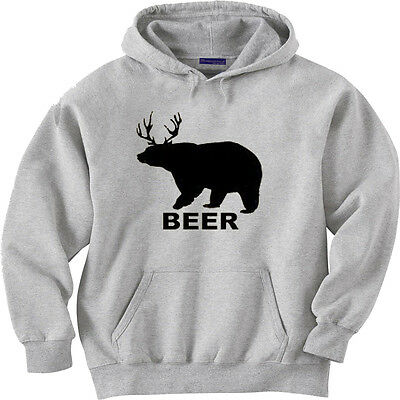 Beer Deer Bear Hoodie Sweatshirt Funny College Humor Dope Drinking Sweater