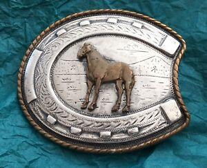 Details about VTG Irvine Jachens STERLING SILVER Horse Horseshoe Western  American BELT BUCKLE