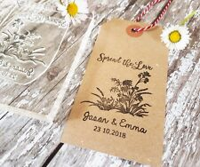 WEDDING STAMP FAVOUR PERSONALISED INITIALS & DATE, WEDDING TAGS SPREAD THE LOVE