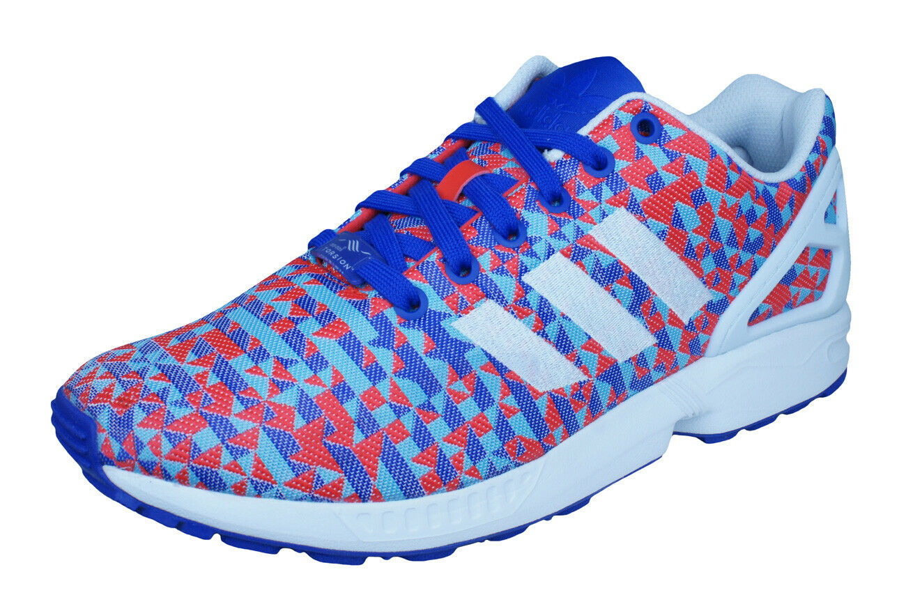 Adidas Original ZX Flux Weave Mens Sneakers   Retro shoes - Red and bluee